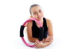 Fitness pilates yoga ring kid girl exercise workout Stock Photo