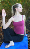 Fitness portrait. Young blond caucasian woman participating in a yoga exercises in the garden. Shallow depth of field, focus is on models face Stock Photography