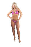 Fitness Pose. Pretty blonde posing for a fitness competion in a bikini Stock Images