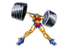 Fitness power girl lifting heavy barbell. Illustration, color,  on a white Stock Photography