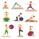 Fitness pregnancy vector pregnant woman character does yoga or exercises with fitball illustration set of expecting. Mother with big tummy in sport gym isolated Royalty Free Stock Photography
