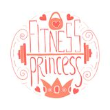 Fitness princess hand drawn circle. Lettering. Stock vector illustration for print for young sport woman and girl royalty free illustration