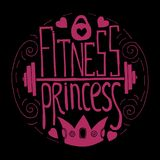 Fitness princess hand drawn circle. Lettering. Stock vector illustration for print for young sport woman and girl vector illustration
