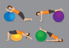 Fitness Program with Exercise Ball Vector Illustration Stock Photos
