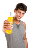 Fitness refreshment with energy drink Royalty Free Stock Photography