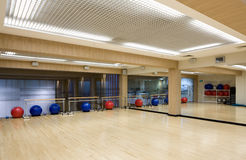 Fitness room. Indoor fitness room in a health club stock image