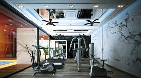 Fitness room design ,interior of modern style stock images