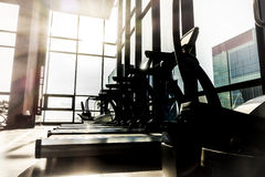 Fitness room. Silhouette of fitness room in luxury fitness club Royalty Free Stock Photography