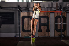 Fitness rope climb cxercise Stock Image