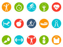 Fitness round buttons icons set. Isolated fitness round buttons icons set on white background Royalty Free Stock Photos