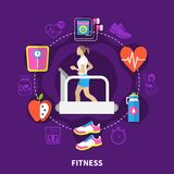 Fitness Round Composition. With running woman at treadmill, scales, music player on purple background flat vector illustration stock illustration