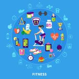 Fitness Round Flat Composition. With woman on exercise bike, sports equipment, nutrition on blue background vector illustration royalty free illustration