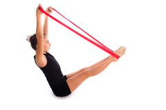 Fitness rubber resistance band kid girl exercise Stock Photos