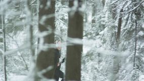 Fitness Running Woman In Winter stock footage