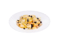 Fitness salad with black raisins and cashew. Royalty Free Stock Photography