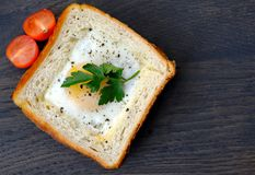 Fitness sandwich with egg and tomatoes. Bright and stylish photo of a low-calorie sandwich: thin white toast with buttered golden edges and a pan fried egg Stock Photo