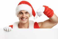 Fitness Santa Claus with a banner sales royalty free stock photography