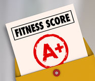 Fitness Score A+ Plus Top Grade Rating Review Evaluation Result. Fitness Score A+ on report card as evaluation results of your physical strength, endurance or Royalty Free Stock Photos