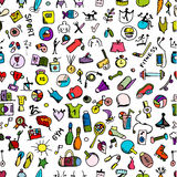 Fitness seamless pattern, sketch for your design Royalty Free Stock Images