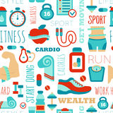 Fitness seamless patterns with sport elements and Stock Image