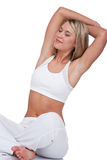 Fitness series - Blond woman stretching Stock Images