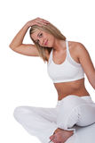 Fitness series - Blond woman stretching Stock Photos