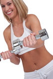 Fitness series - Blond woman with weights Stock Photo
