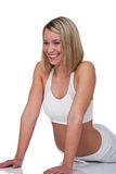 Fitness series - Blond woman in white outfit Stock Photo