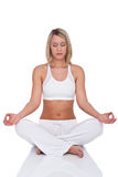 Fitness series - Blond woman in yoga position Royalty Free Stock Photo