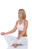 Fitness series - Blond woman in yoga position Royalty Free Stock Image