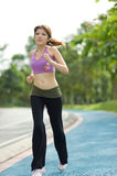 Fitness series jogging. An asian female striding along on the jogging path in a park Royalty Free Stock Image