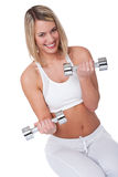 Fitness series - Smiling woman with weights Stock Photos