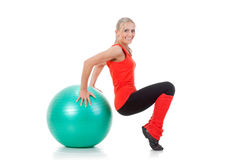 Fitness series: woman and exercise ball Stock Photography