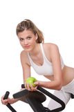 Fitness series - Woman holding apple Royalty Free Stock Photo