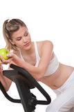 Fitness series - Woman holding green apple Stock Photography