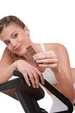 Fitness series - Woman holding piece of chocolate Stock Photography