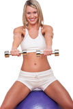 Fitness series - Woman with weights Stock Photography