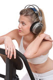 Fitness Series - Woman With Headphones Exercising Royalty Free Stock Photo