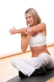Fitness series - Young woman stretching Stock Photo