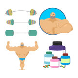 Fitness set. Bodybuilder and sports nutrition. Athlete and barbe Royalty Free Stock Image