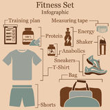 Fitness set  infographics Stock Image