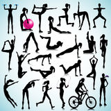 Fitness set of people. Sport, fitness silhouettes of women Stock Photo
