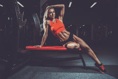 Fitness sexy mode on diet with long female legs gym Royalty Free Stock Image
