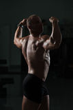 Fitness Shaped Muscle Man Posing In Dark Gym Stock Photography