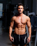 Fitness shaped muscle man posing on gym. Fitness shaped muscle man posing on dark gym Royalty Free Stock Photos
