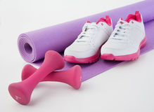 Fitness Shoes and Hand weights Royalty Free Stock Photography