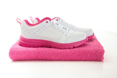 Fitness Shoes and Towel Stock Images