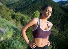 Fitness shoot. Healthy runner in the mountains Stock Images