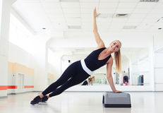 Fitness side push ups workout execises Royalty Free Stock Photos