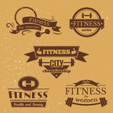 Fitness signs set, sport logos and labels Royalty Free Stock Photos